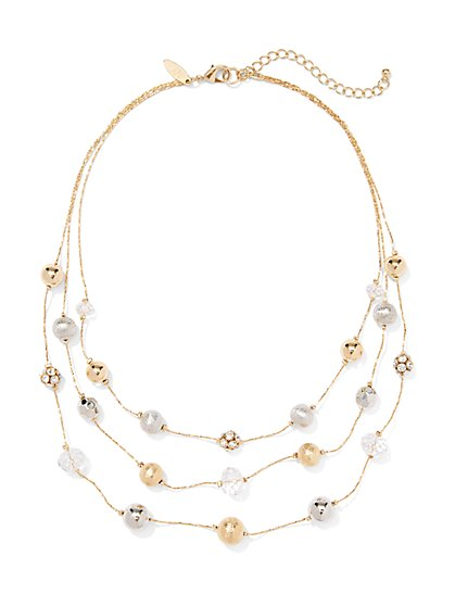 Three-Row Spherical Necklace  - New York & Company