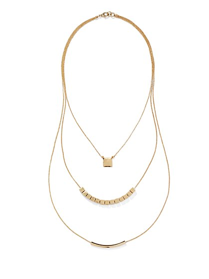 Three-Row Square & Bar Necklace  - New York & Company