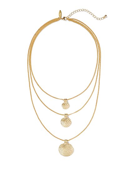 Three-Row Textured Disc Necklace  - New York & Company