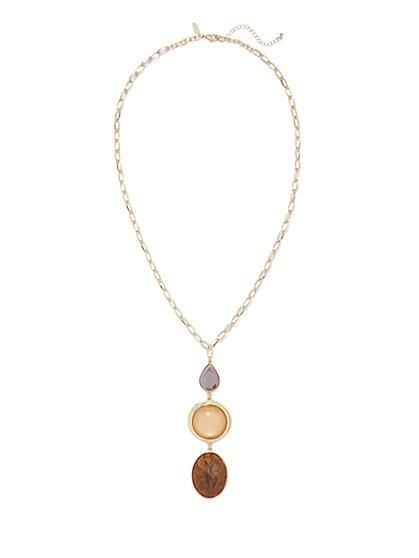 Three-Stone Pendant Necklace  - New York & Company