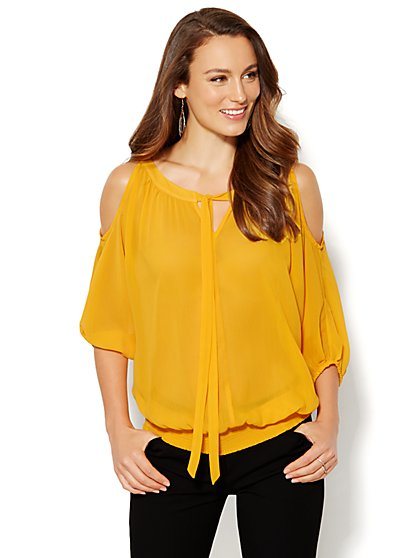 Tie-Front Cold-Shoulder Blouse  - New York & Company
