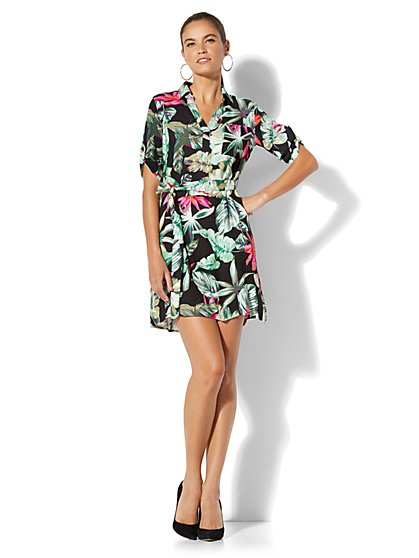 Tie Front Dress - Floral - New York & Company