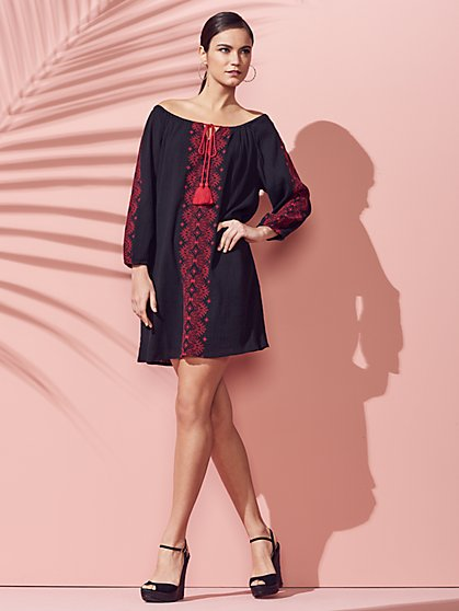 Tie-Front Embroidered Shift Dress - New York & Company