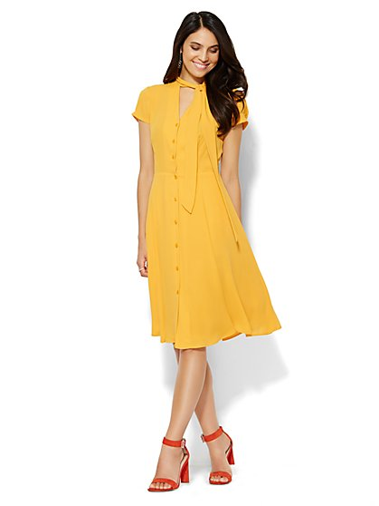Tie-Front Flare Shirtdress  - New York & Company