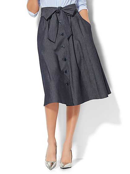 Tie-Front Midi Skirt - New York & Company