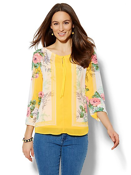 Tie-Front Peasant Blouse - Floral/Linear Print  - New York & Company