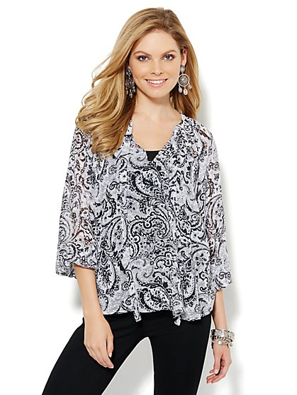 Tie-Front Peasant Blouse - Paisley  - New York & Company