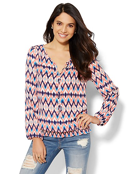 Tie-Front Peasant Blouse - Print  - New York & Company