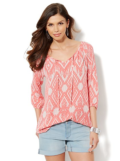 Tie-Front Peasant Blouse  - New York & Company