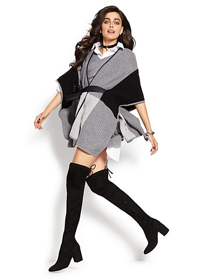 Tie-Front Poncho - Colorblock  - New York & Company