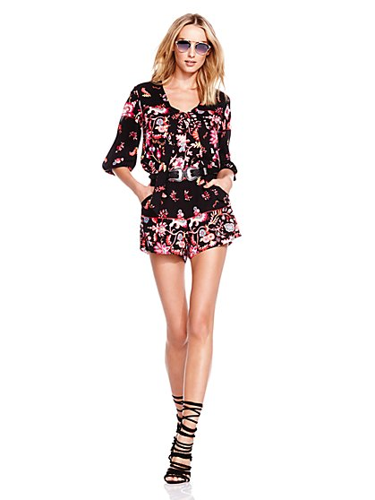 Tie-Front Romper - Floral - New York & Company