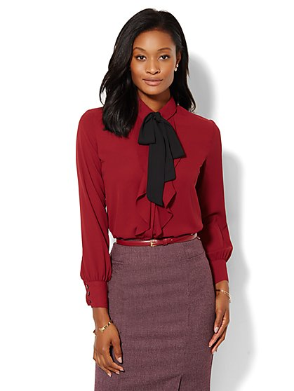 Tie-Front Ruffle Blouse  - New York & Company