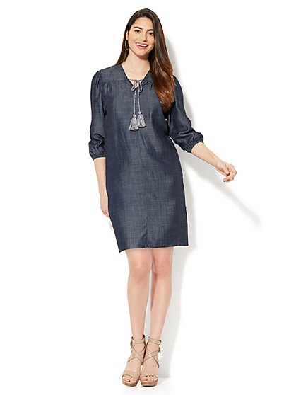 Tie-Front Shift Dress - Ultra-Soft Chambray - Dark Blue Wash - New York & Company