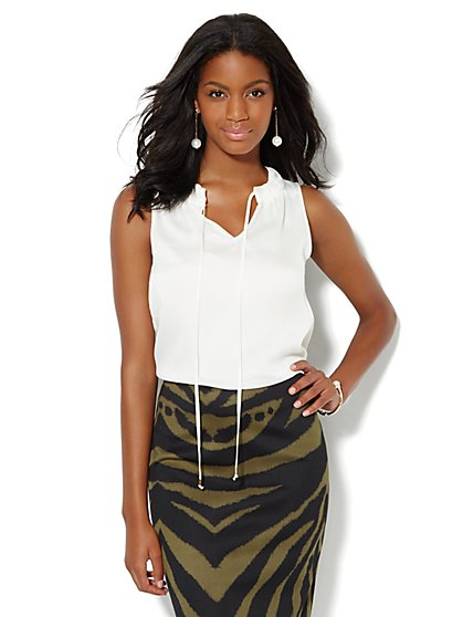 Tie-Front Silky Shell