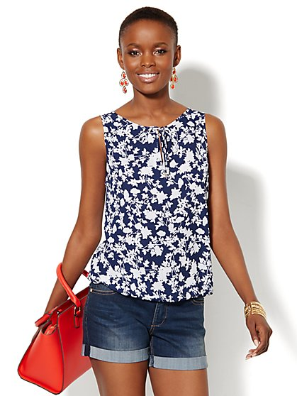 Tie-Neck Blouse - Floral - New York & Company