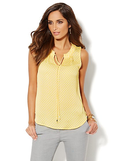 Tie-Neck Blouse - Polka-Dot Print  - New York & Company