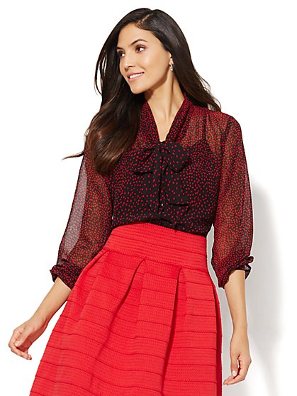 Tie-Neck Blouse - Polka Dot  - New York & Company