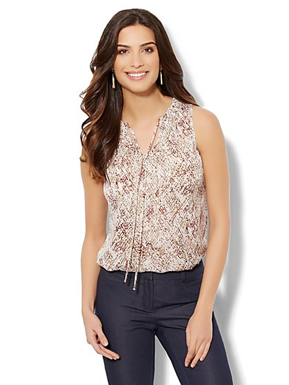 Tie-Neck Blouse - Python Print  - New York & Company