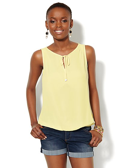 Tie-Neck Blouse - Solid - New York & Company