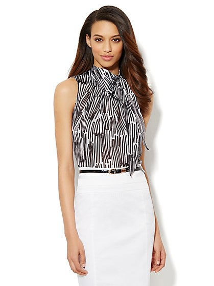 Tie-Neck Halter Blouse - Abstract Print