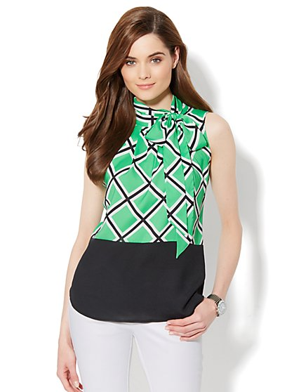 Tie-Neck Halter Shell - Windowpane Print