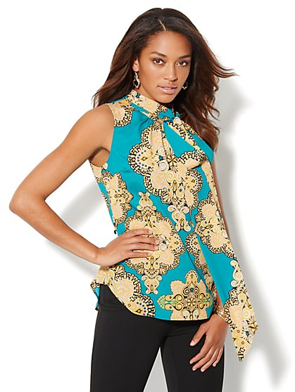 Tie-Neck Sleeveless Print Blouse - New York & Company