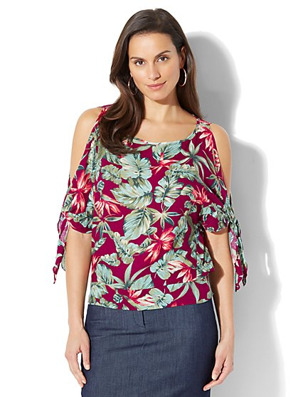 Tie-Sleeve Cold-Shoulder Blouse - Floral Print - Petite - New York & Company