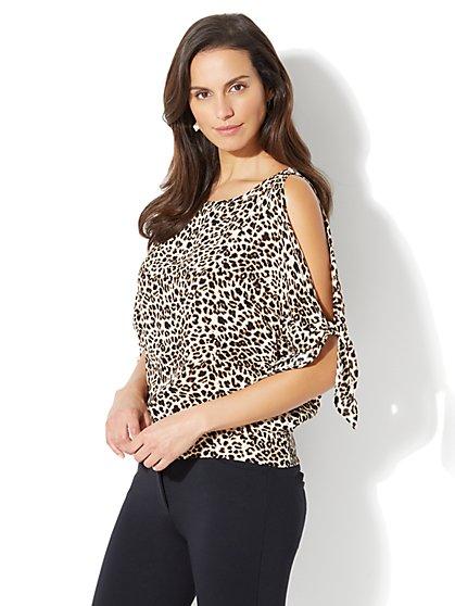 Tie-Sleeve Cold-Shoulder Blouse - Leopard Print - Petite - New York & Company