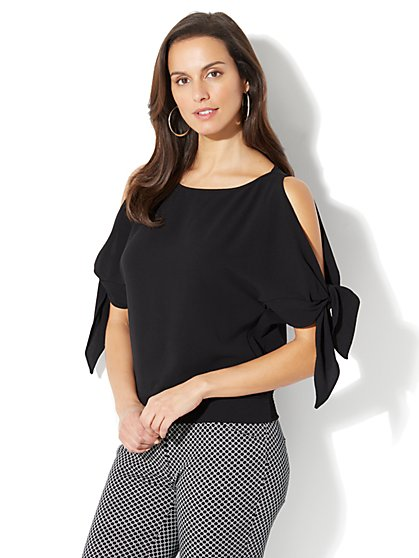 Tie-Sleeve Cold-Shoulder Blouse - Petite - New York & Company