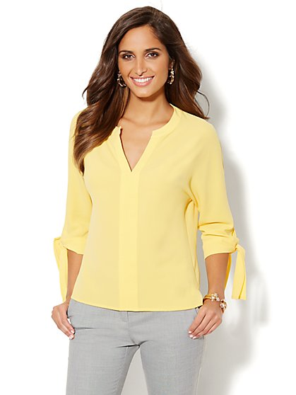 Tie-Sleeve Hi-Lo Blouse - Solid - Petite - New York & Company