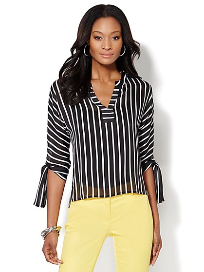 Tie-Sleeve Hi-Lo Blouse - Striped  - New York & Company
