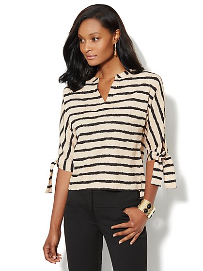 Tie-Sleeve Soft Blouse - Stripe - New York & Company