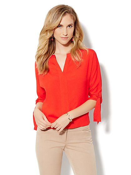 Tie-Sleeve Soft Blouse - New York & Company
