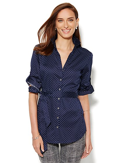 Tie-Waist Button-Front Shirt - Polka Dot - New York & Company