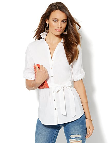 Tie-Waist Button-Front Shirt - New York & Company