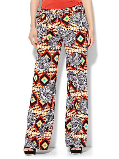 Tie-Waist Palazzo Pant - Floral Print - New York & Company