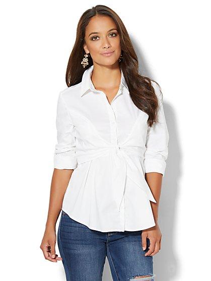 Tie-Waist Stretch Shirt  - New York & Company