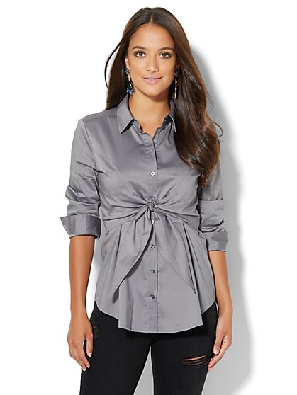 Tie-Waist Stretch Shirt  - New York & Company