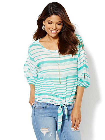 Tie-Waist Striped Blouse - New York & Company