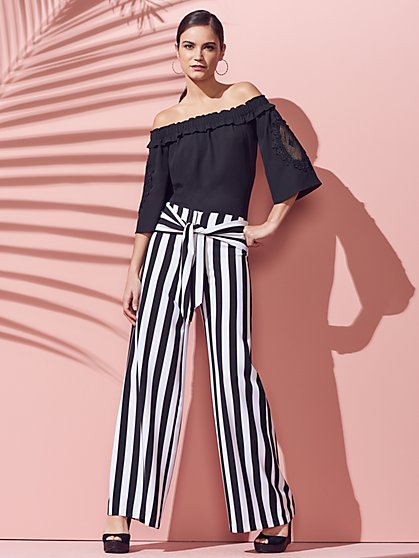 Tie-Waist Wide-Leg Pant - Stripe - New York & Company