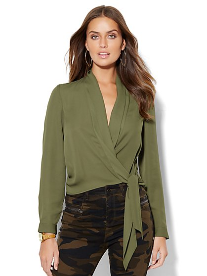 Tie-Waist Wrap Blouse  - New York & Company