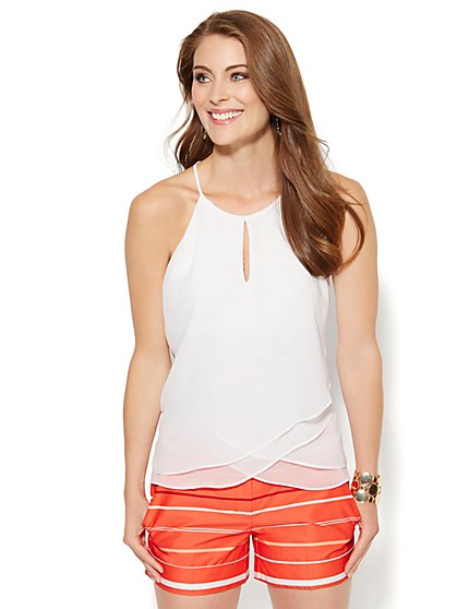 Tiered Chiffon Halter Top  - New York & Company