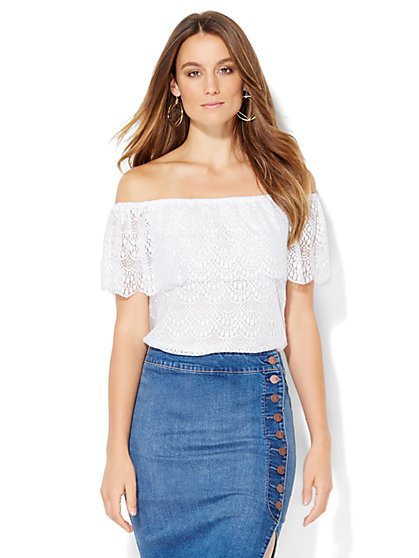 Tiered Lace Off-The-Shoulder Blouse  - New York & Company