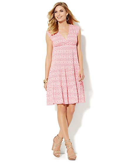 Tiered Ruffle Dress - Ikat Print  - New York & Company