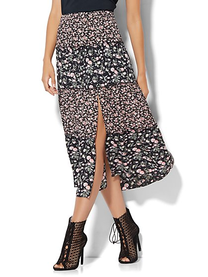 Tiered Slit Skirt - Floral  - New York & Company