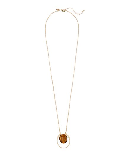 Tiger Eye-Stone Pendant Necklace  - New York & Company