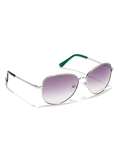Tinted-Lens Aviator Sunglasses  - New York & Company