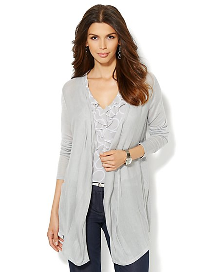 Tonal-Stripe Flyaway Cardigan  - New York & Company