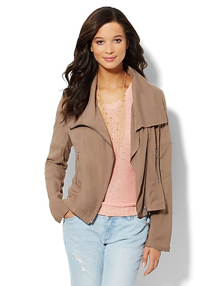 Topstitch Soft Moto Jacket  - New York & Company