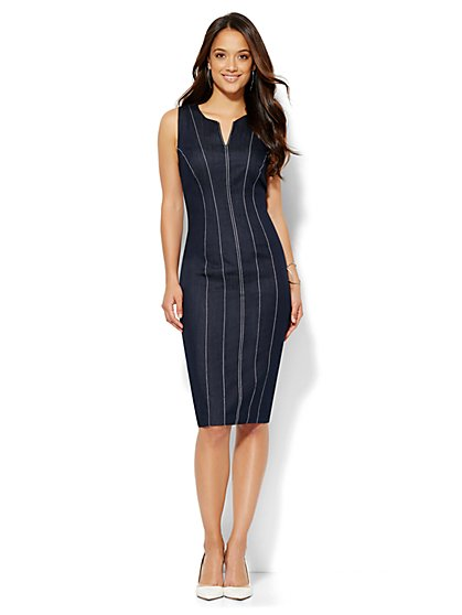 Topstitched Sheath Dress - Hidden Blue - Petite  - New York & Company